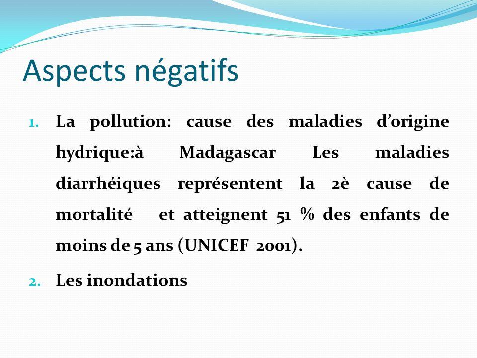Aspects négatifs 1. La pollution: cause des maladies dorigine hydrique:à Madagascar Les maladies diarrhéiques représentent la 2è cause de mortalité et