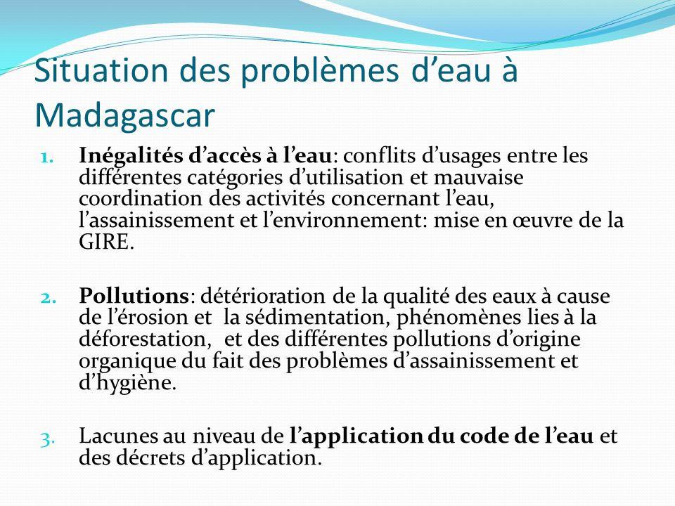 Situation des problèmes deau à Madagascar 1. Inégalités daccès à leau: conflits dusages entre les différentes catégories dutilisation et mauvaise coor