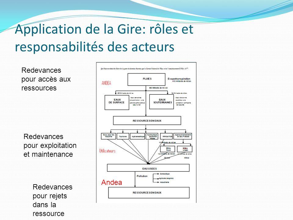Application de la Gire: rôles et responsabilités des acteurs Redevances pour accès aux ressources Redevances pour exploitation et maintenance Andea Re