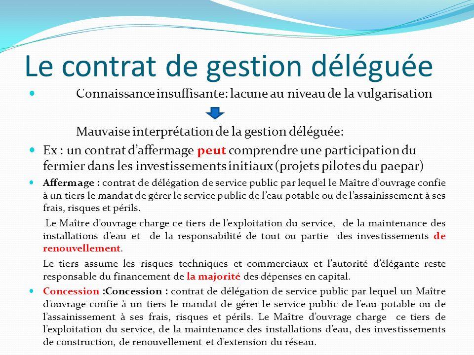 Le contrat de gestion déléguée Connaissance insuffisante: lacune au niveau de la vulgarisation Mauvaise interprétation de la gestion déléguée: Ex : un
