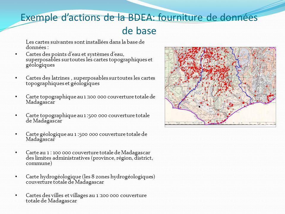 Les cartes suivantes sont installées dans la base de données : Cartes des points deau et systèmes deau, superposables sur toutes les cartes topographi