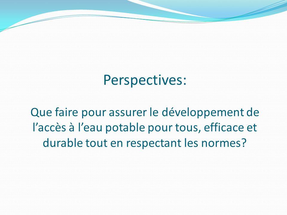 Perspectives: Que faire pour assurer le développement de laccès à leau potable pour tous, efficace et durable tout en respectant les normes?