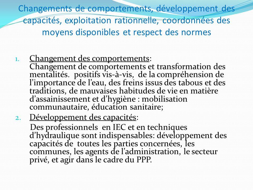 Changements de comportements, développement des capacités, exploitation rationnelle, coordonnées des moyens disponibles et respect des normes 1. Chang