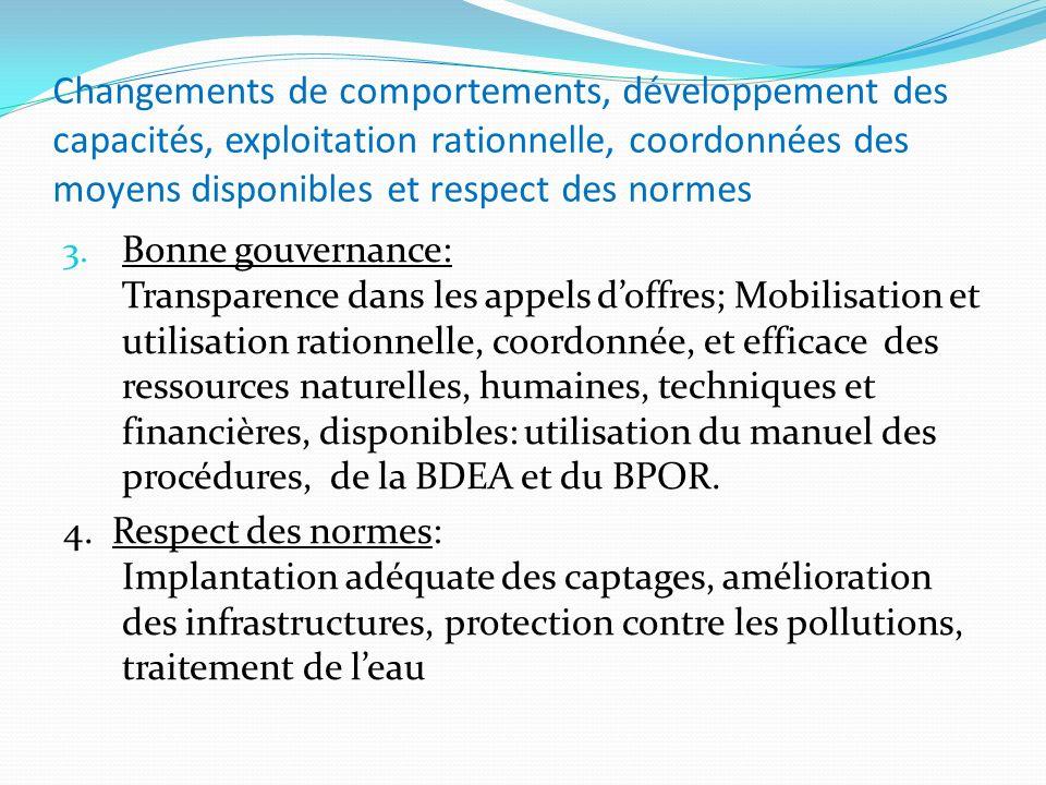 Changements de comportements, développement des capacités, exploitation rationnelle, coordonnées des moyens disponibles et respect des normes 3. Bonne
