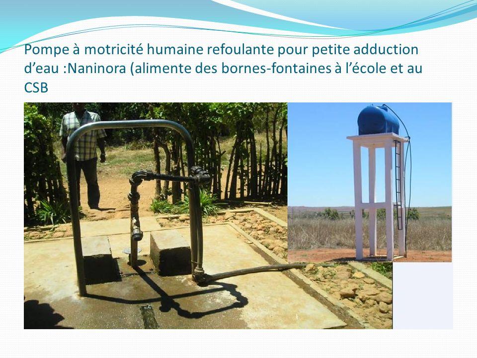 Pompe à motricité humaine refoulante pour petite adduction deau :Naninora (alimente des bornes-fontaines à lécole et au CSB