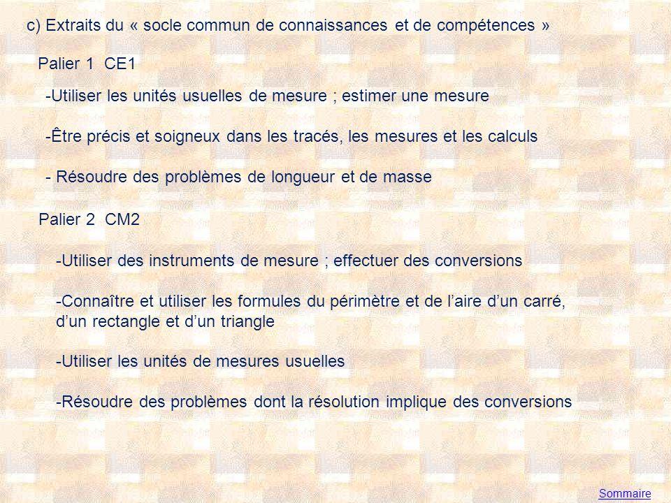 Sommaire c) Extraits du « socle commun de connaissances et de compétences » Palier 1 CE1 -Utiliser les unités usuelles de mesure ; estimer une mesure -Être précis et soigneux dans les tracés, les mesures et les calculs - Résoudre des problèmes de longueur et de masse Palier 2 CM2 -Utiliser des instruments de mesure ; effectuer des conversions -Connaître et utiliser les formules du périmètre et de laire dun carré, dun rectangle et dun triangle -Utiliser les unités de mesures usuelles -Résoudre des problèmes dont la résolution implique des conversions