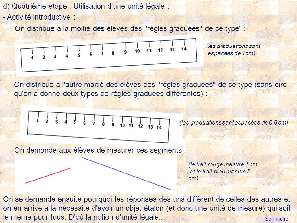 Sommaire d) Quatrième étape : Utilisation d une unité légale : - Activité introductive : On distribue à la moitié des élèves des règles graduées de ce type : (les graduations sont espacées de 1cm) On distribue à l autre moitié des élèves des règles graduées de ce type (sans dire qu on a donné deux types de règles graduées différentes) : On demande aux élèves de mesurer ces segments : (les graduations sont espacées de 0,8 cm) (le trait rouge mesure 4 cm et le trait bleu mesure 8 cm) On se demande ensuite pourquoi les réponses des uns diffèrent de celles des autres et on en arrive à la nécessite d avoir un objet étalon (et donc une unité de mesure) qui soit le même pour tous.
