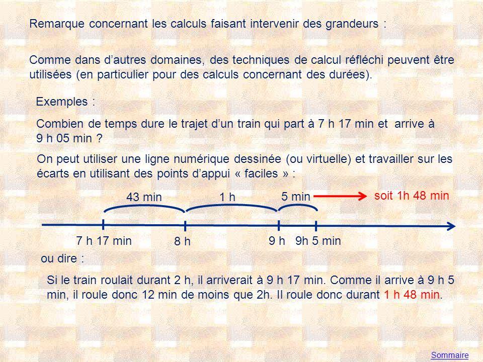 Remarque concernant les calculs faisant intervenir des grandeurs : Comme dans dautres domaines, des techniques de calcul réfléchi peuvent être utilisées (en particulier pour des calculs concernant des durées).