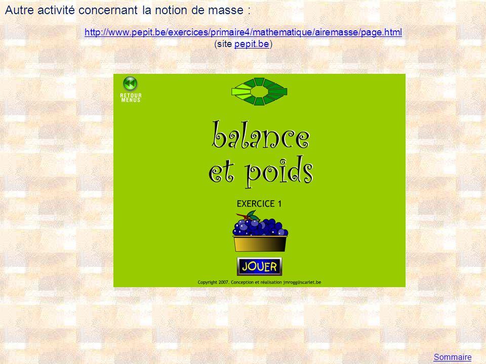 http://www.pepit.be/exercices/primaire4/mathematique/airemasse/page.html http://www.pepit.be/exercices/primaire4/mathematique/airemasse/page.html (site pepit.be)pepit.be Sommaire Autre activité concernant la notion de masse :
