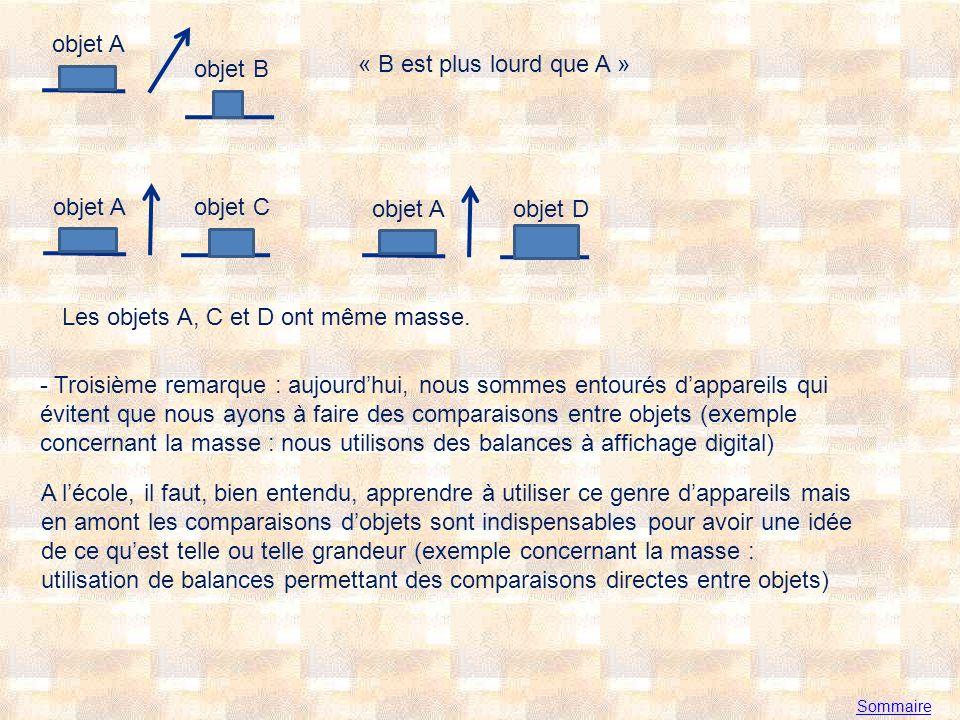 Sommaire objet A objet B « B est plus lourd que A » objet A objet C objet A objet D Les objets A, C et D ont même masse.