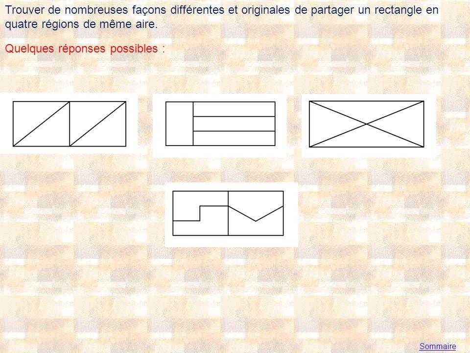 Trouver de nombreuses façons différentes et originales de partager un rectangle en quatre régions de même aire.