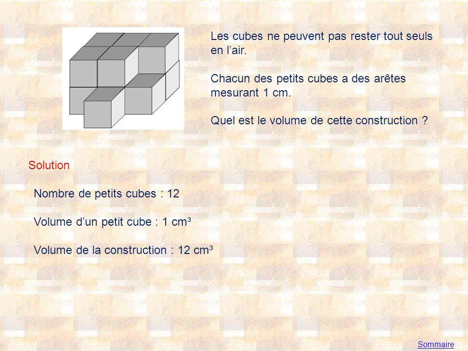 Sommaire Les cubes ne peuvent pas rester tout seuls en lair.