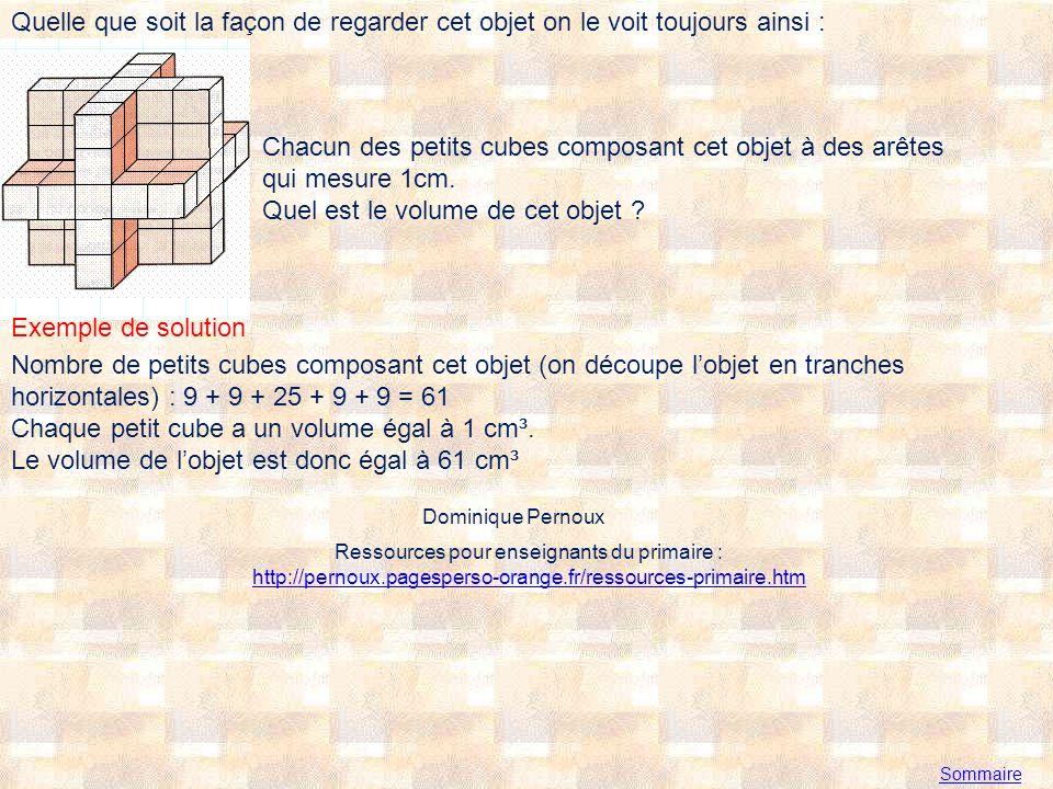 Sommaire Quelle que soit la façon de regarder cet objet on le voit toujours ainsi : Chacun des petits cubes composant cet objet à des arêtes qui mesure 1cm.