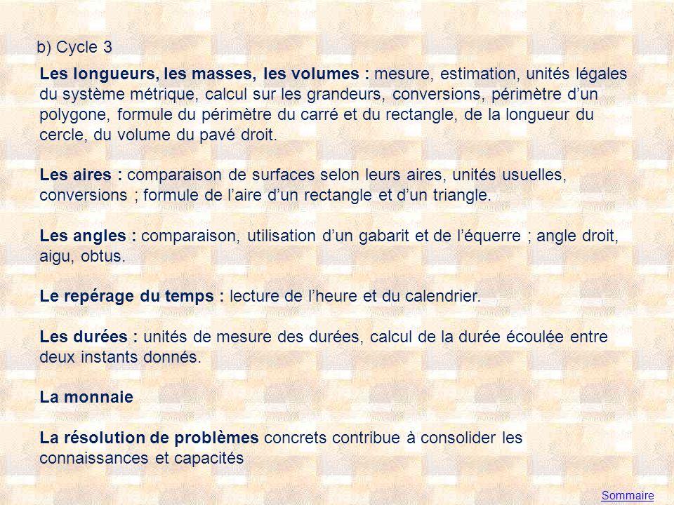 Sommaire b) Cycle 3 Les longueurs, les masses, les volumes : mesure, estimation, unités légales du système métrique, calcul sur les grandeurs, conversions, périmètre dun polygone, formule du périmètre du carré et du rectangle, de la longueur du cercle, du volume du pavé droit.