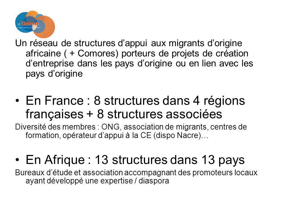 Un réseau de structures dappui aux migrants dorigine africaine ( + Comores) porteurs de projets de création dentreprise dans les pays dorigine ou en lien avec les pays dorigine En France : 8 structures dans 4 régions françaises + 8 structures associées Diversité des membres : ONG, association de migrants, centres de formation, opérateur dappui à la CE (dispo Nacre)… En Afrique : 13 structures dans 13 pays Bureaux détude et association accompagnant des promoteurs locaux ayant développé une expertise / diaspora