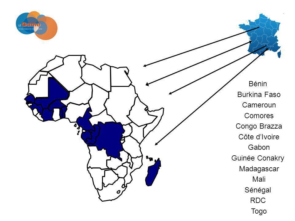 Bénin Burkina Faso Cameroun Comores Congo Brazza Côte dIvoire Gabon Guinée Conakry Madagascar Mali Sénégal RDC Togo