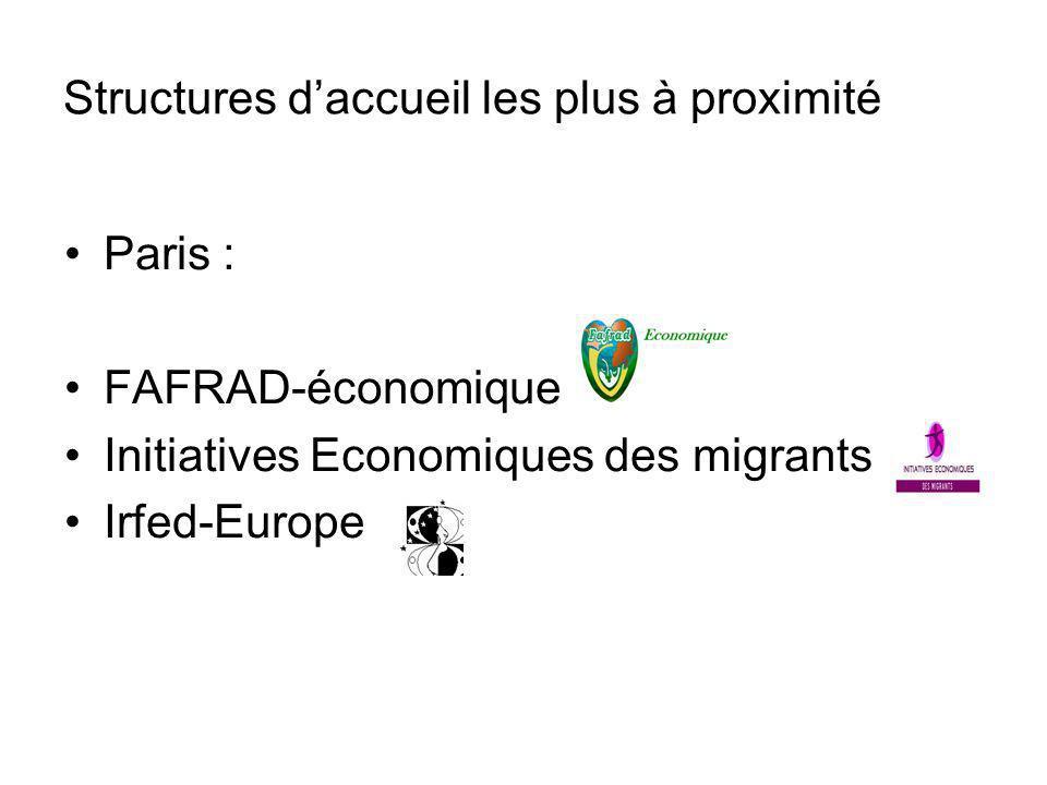 Structures daccueil les plus à proximité Paris : FAFRAD-économique Initiatives Economiques des migrants Irfed-Europe