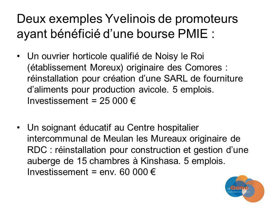 Deux exemples Yvelinois de promoteurs ayant bénéficié dune bourse PMIE : Un ouvrier horticole qualifié de Noisy le Roi (établissement Moreux) originaire des Comores : réinstallation pour création dune SARL de fourniture daliments pour production avicole.