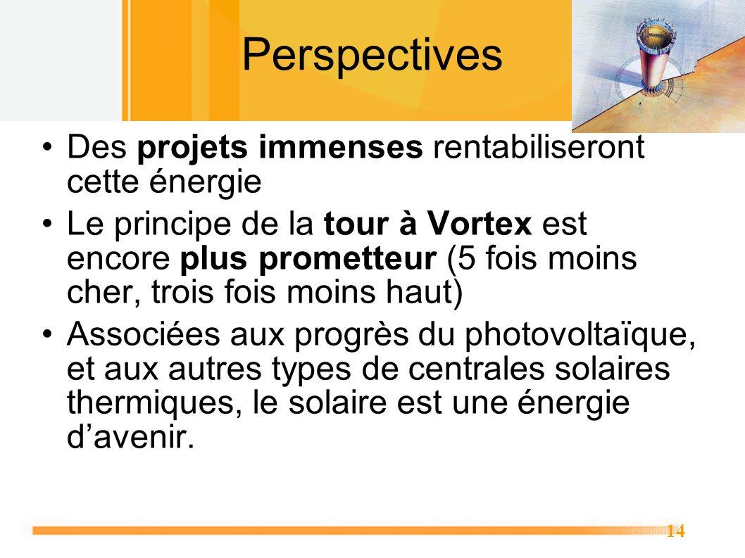 14 Perspectives Des projets immenses rentabiliseront cette énergie Le principe de la tour à Vortex est encore plus prometteur (5 fois moins cher, troi