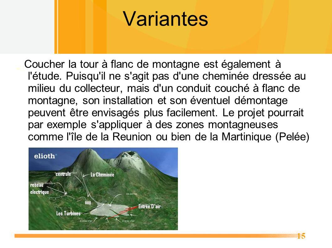 15 Variantes Coucher la tour à flanc de montagne est également à l'étude. Puisqu'il ne s'agit pas d'une cheminée dressée au milieu du collecteur, mais