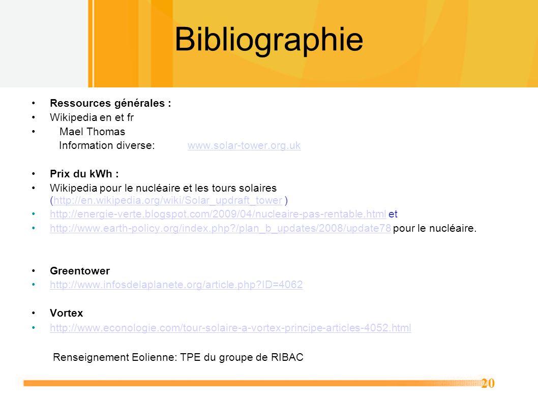 20 Bibliographie Ressources générales : Wikipedia en et fr Mael Thomas Information diverse: www.solar-tower.org.ukwww.solar-tower.org.uk Prix du kWh :