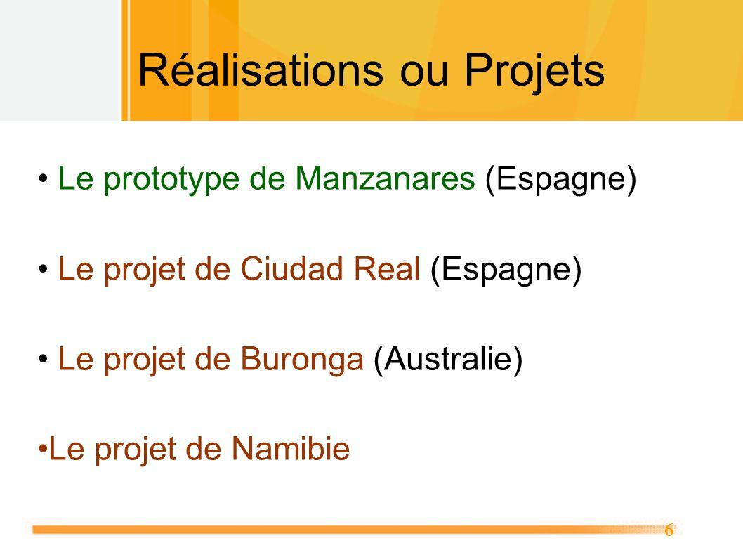6 Réalisations ou Projets Le prototype de Manzanares (Espagne) Le projet de Ciudad Real (Espagne) Le projet de Buronga (Australie) Le projet de Namibi