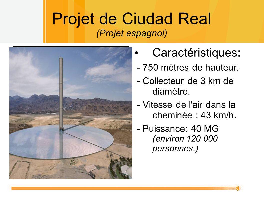8 Projet de Ciudad Real (Projet espagnol) Caractéristiques: - 750 mètres de hauteur. - Collecteur de 3 km de diamètre. - Vitesse de l'air dans la chem
