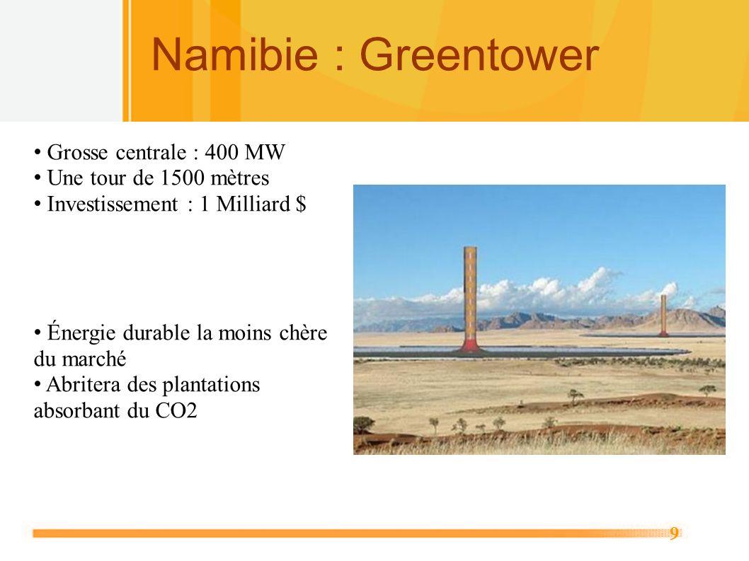 9 Namibie : Greentower Grosse centrale : 400 MW Une tour de 1500 mètres Investissement : 1 Milliard $ Énergie durable la moins chère du marché Abriter