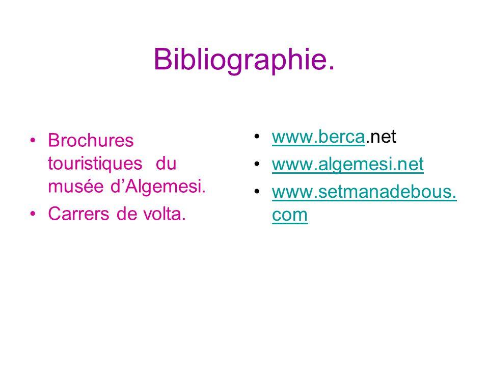 Bibliographie. Brochures touristiques du musée dAlgemesi. Carrers de volta. www.berca.netwww.berca www.algemesi.net www.setmanadebous. comwww.setmanad