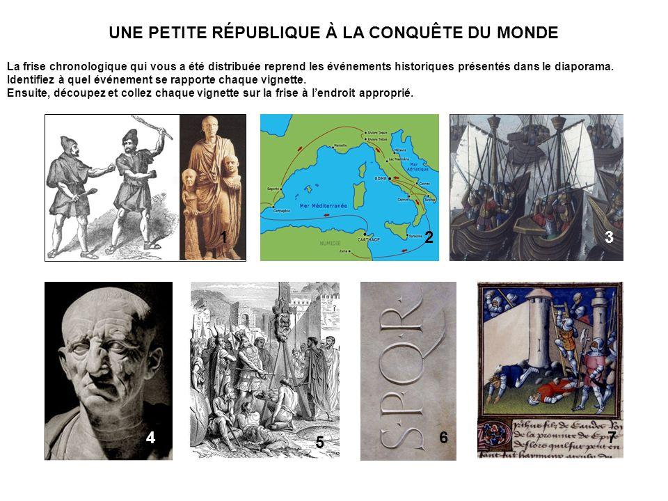 UNE PETITE RÉPUBLIQUE CORRIGÉ Conquêtes et angoisses (509-350) 159 ans A la découverte du Sud (350-265) 85 ans 509 - proclamation de la « res publica ».
