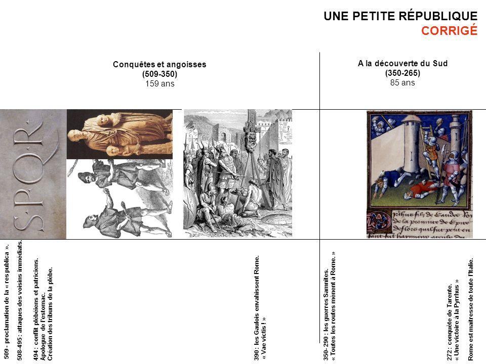 UNE PETITE RÉPUBLIQUE CORRIGÉ Conquêtes et angoisses (509-350) 159 ans A la découverte du Sud (350-265) 85 ans 509 - proclamation de la « res publica