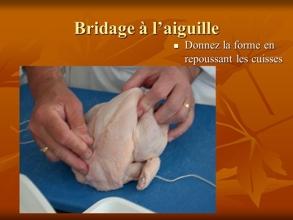 Bridage à laiguille Donnez la forme en repoussant les cuisses Donnez la forme en repoussant les cuisses