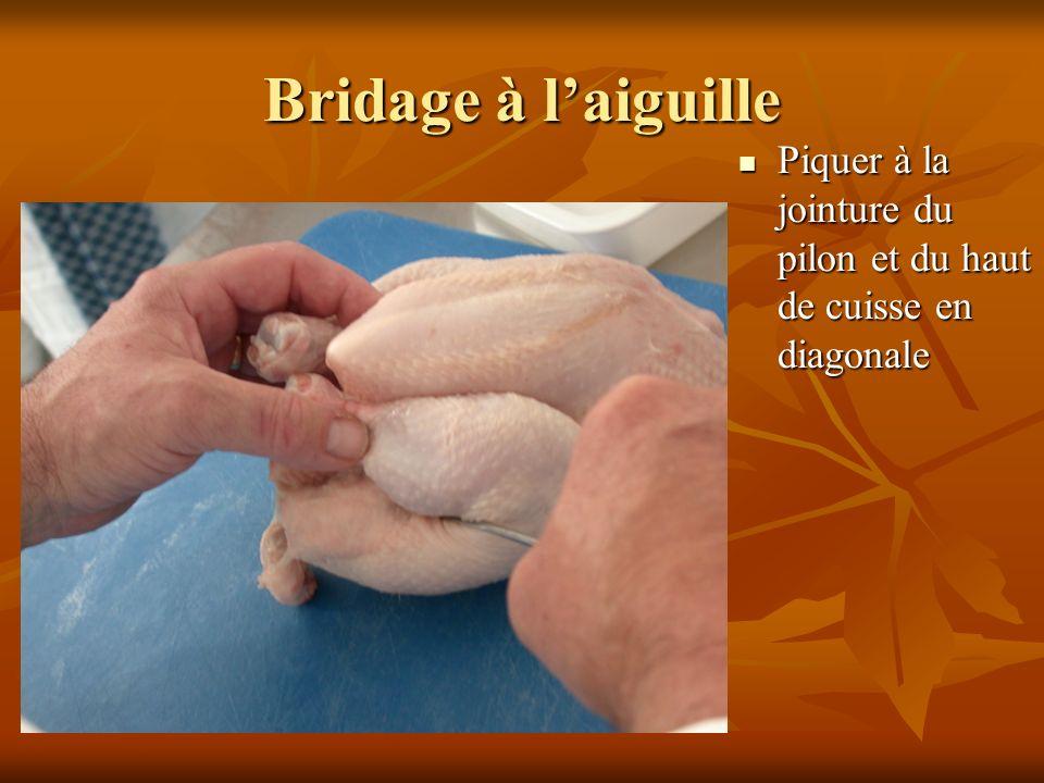 Bridage à laiguille Piquer à la jointure du pilon et du haut de cuisse en diagonale Piquer à la jointure du pilon et du haut de cuisse en diagonale