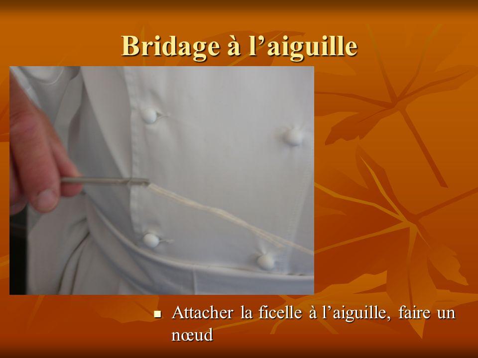 Bridage à laiguille Attacher la ficelle à laiguille, faire un nœud Attacher la ficelle à laiguille, faire un nœud