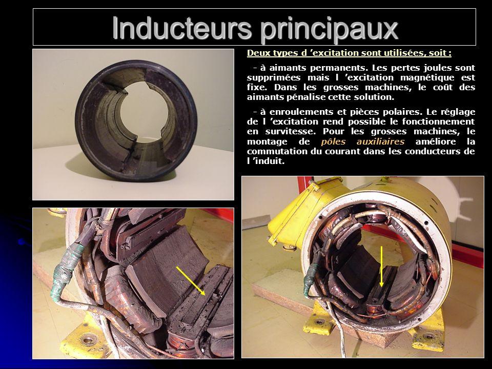 Inducteurs principaux Deux types d excitation sont utilisées, soit : - à aimants permanents. Les pertes joules sont supprimées mais l excitation magné