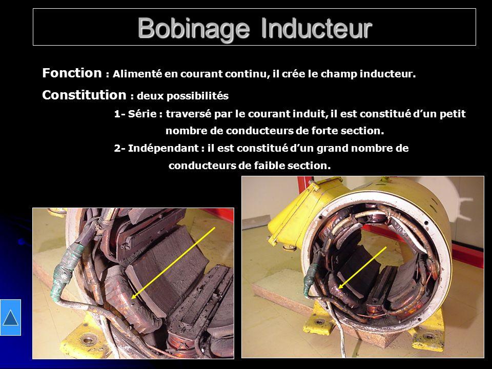 Bobinage Inducteur Fonction : Alimenté en courant continu, il crée le champ inducteur. Constitution : deux possibilités 1- Série : traversé par le cou