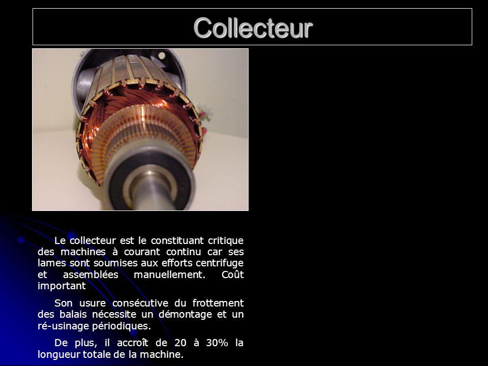 Collecteur Le collecteur est le constituant critique des machines à courant continu car ses lames sont soumises aux efforts centrifuge et assemblées m