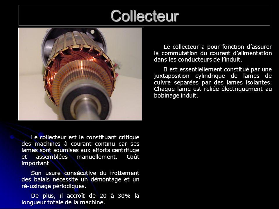 Collecteur Le collecteur a pour fonction dassurer la commutation du courant dalimentation dans les conducteurs de linduit. Il est essentiellement cons