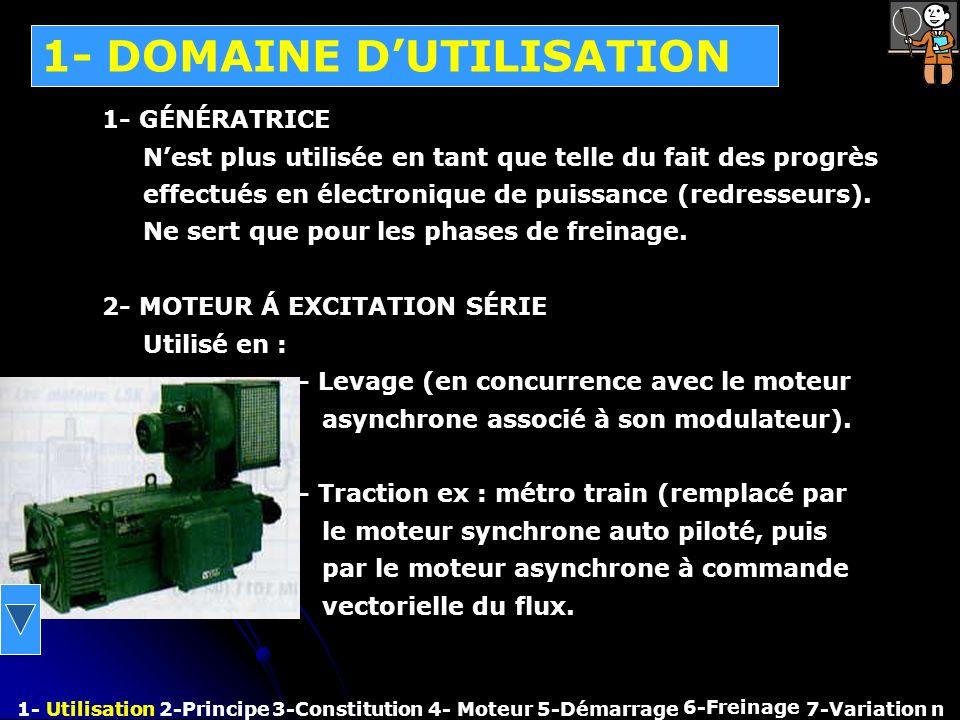 1- DOMAINE DUTILISATION 1- Utilisation2-Principe3-Constitution4- Moteur 6-Freinage 7-Variation n 1- GÉNÉRATRICE Nest plus utilisée en tant que telle d
