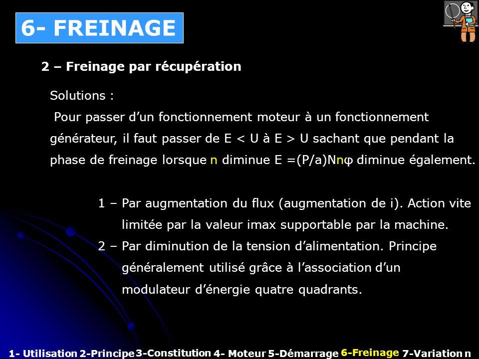 6- FREINAGE 1- Utilisation2-Principe 3-Constitution 4- Moteur 6-Freinage 7-Variation n 2 – Freinage par récupération Solutions : Pour passer dun fonct