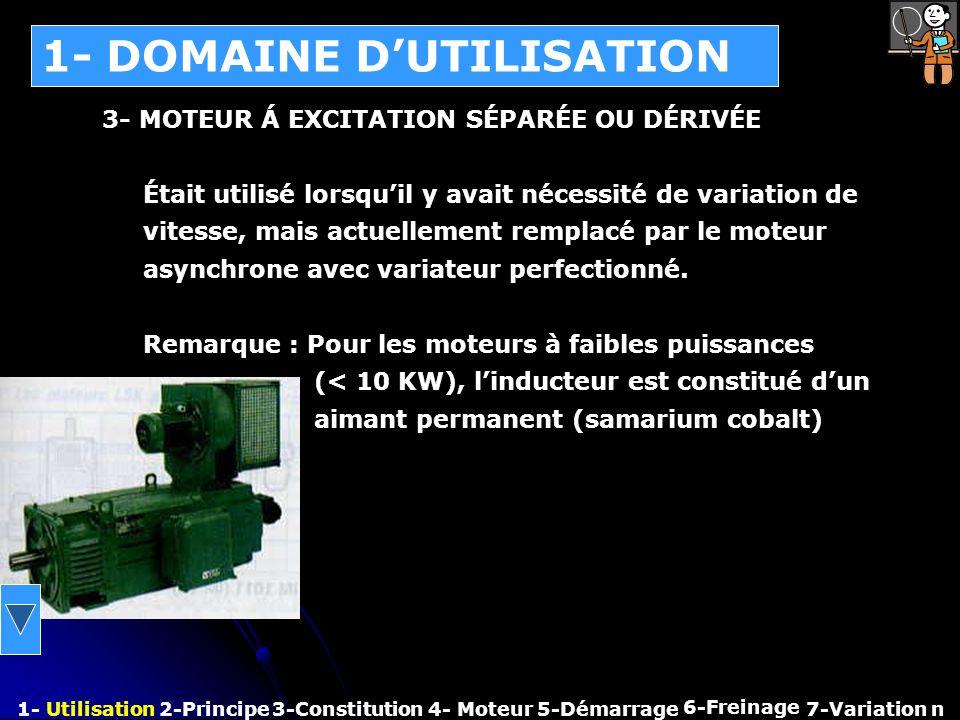 1- DOMAINE DUTILISATION 1- Utilisation2-Principe3-Constitution4- Moteur 6-Freinage 7-Variation n 3- MOTEUR Á EXCITATION SÉPARÉE OU DÉRIVÉE Était utili