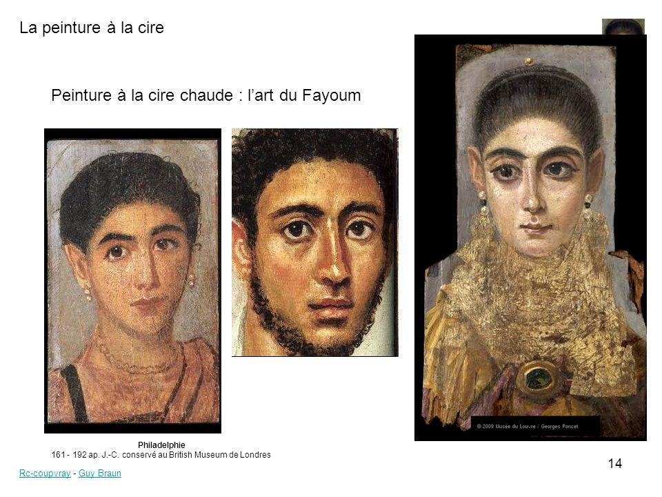 La peinture à la cire Rc-coupvrayRc-coupvray - Guy BraunGuy Braun 14 Peinture à la cire chaude : lart du Fayoum Philadelphie 161 - 192 ap. J.-C. conse