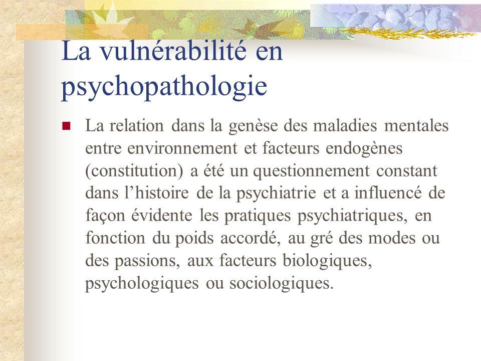 La relation dans la genèse des maladies mentales entre environnement et facteurs endogènes (constitution) a été un questionnement constant dans lhisto