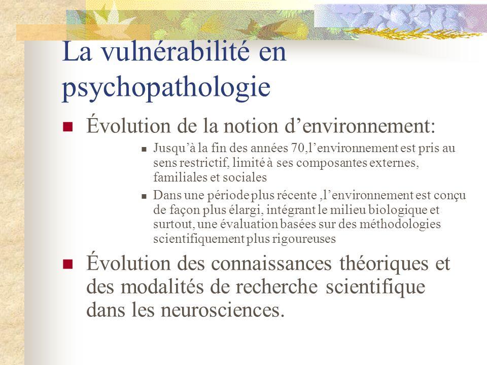 La vulnérabilité en psychopathologie Évolution de la notion denvironnement: Jusquà la fin des années 70,lenvironnement est pris au sens restrictif, li