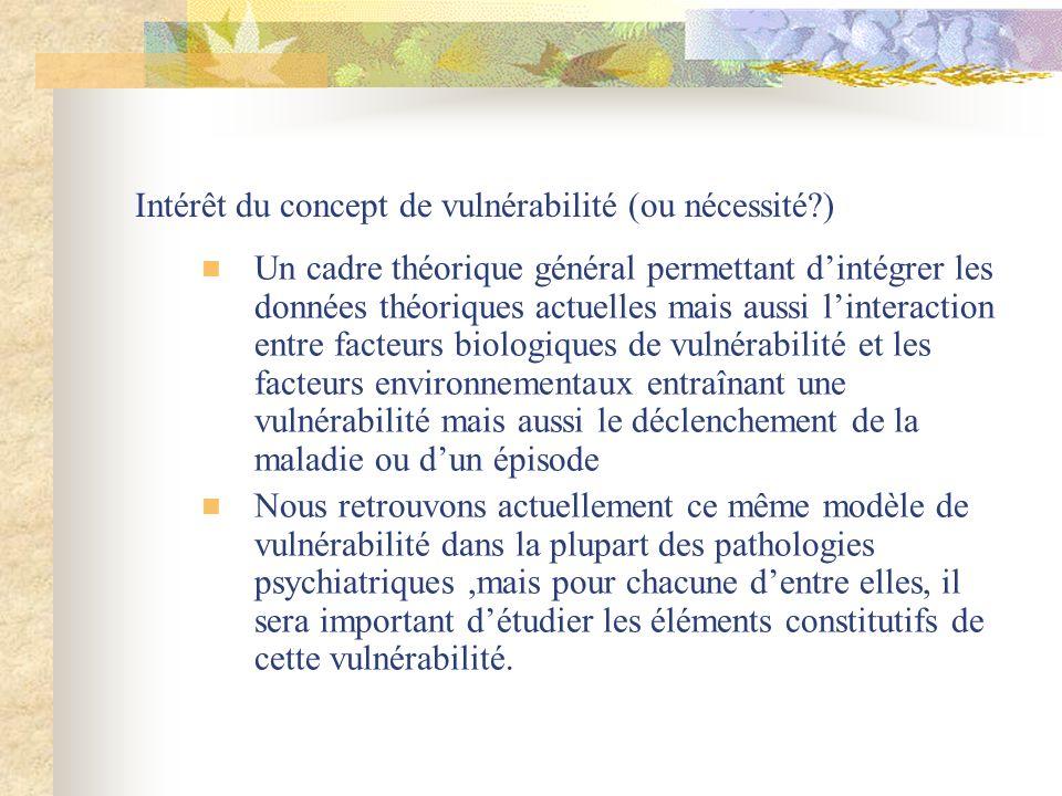 Intérêt du concept de vulnérabilité (ou nécessité?) Un cadre théorique général permettant dintégrer les données théoriques actuelles mais aussi linter