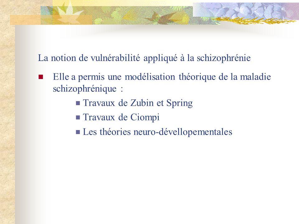 La notion de vulnérabilité appliqué à la schizophrénie Elle a permis une modélisation théorique de la maladie schizophrénique : Travaux de Zubin et Spring Travaux de Ciompi Les théories neuro-dévellopementales