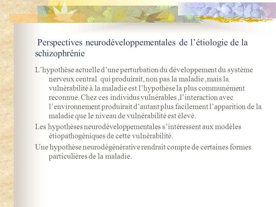 Perspectives neurodéveloppementales de létiologie de la schizophrénie Lhypothèse actuelle dune perturbation du développement du système nerveux centra