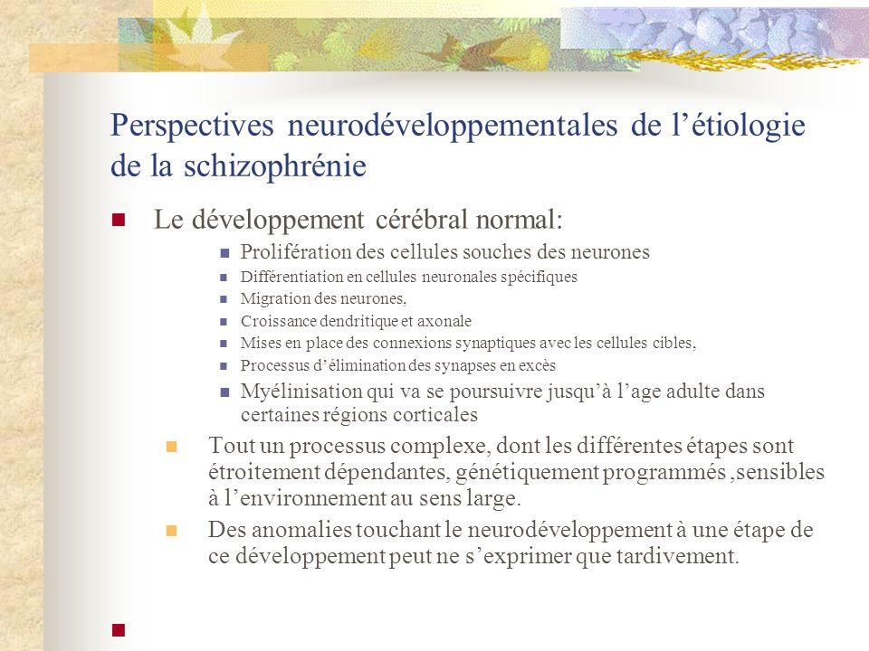 Perspectives neurodéveloppementales de létiologie de la schizophrénie Le développement cérébral normal: Prolifération des cellules souches des neurones Différentiation en cellules neuronales spécifiques Migration des neurones, Croissance dendritique et axonale Mises en place des connexions synaptiques avec les cellules cibles, Processus délimination des synapses en excès Myélinisation qui va se poursuivre jusquà lage adulte dans certaines régions corticales Tout un processus complexe, dont les différentes étapes sont étroitement dépendantes, génétiquement programmés,sensibles à lenvironnement au sens large.