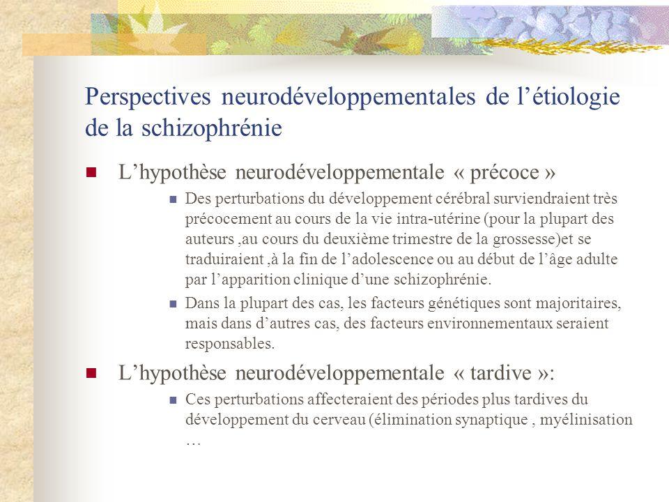 Perspectives neurodéveloppementales de létiologie de la schizophrénie Lhypothèse neurodéveloppementale « précoce » Des perturbations du développement cérébral surviendraient très précocement au cours de la vie intra-utérine (pour la plupart des auteurs,au cours du deuxième trimestre de la grossesse)et se traduiraient,à la fin de ladolescence ou au début de lâge adulte par lapparition clinique dune schizophrénie.
