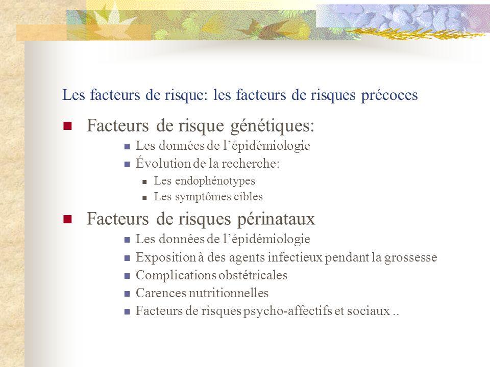 Les facteurs de risque: les facteurs de risques précoces Facteurs de risque génétiques: Les données de lépidémiologie Évolution de la recherche: Les e